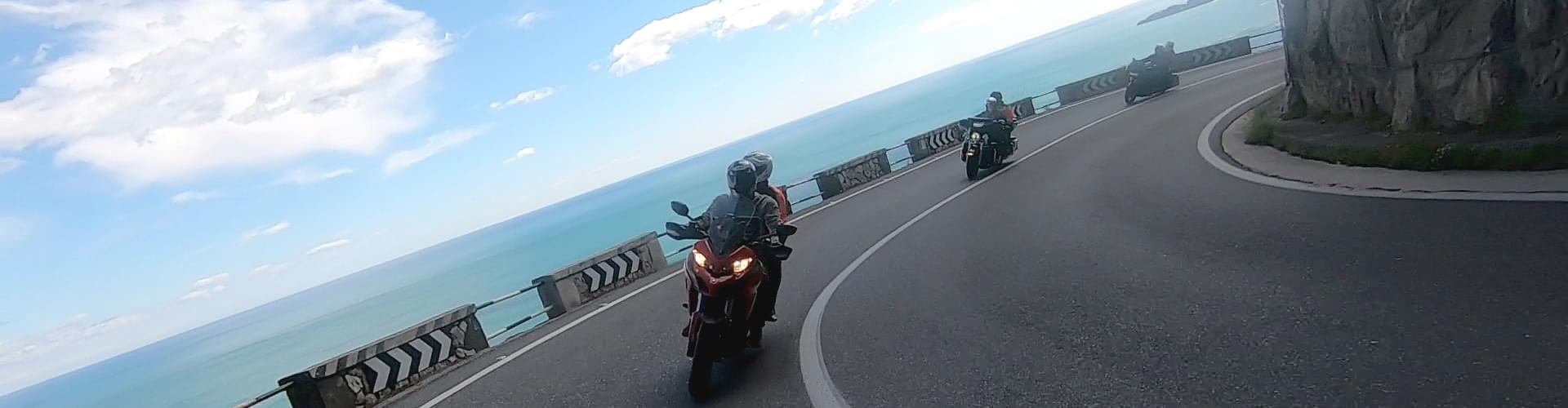 Riding a Ducati slongo the beautiful roads of Amalfi Coast