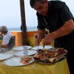 Delicious seafood on the beach
