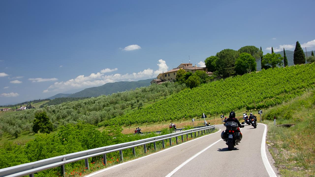 Ride Tuscany between the vineyards