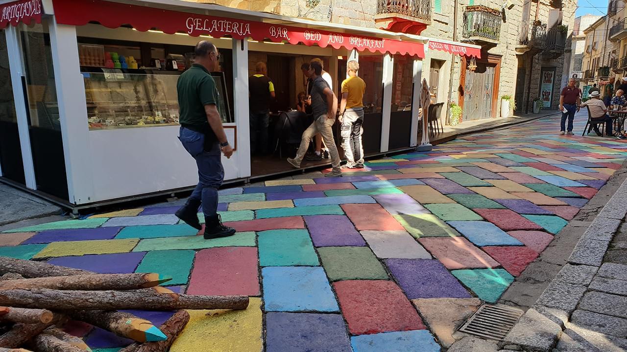 The colorful rock street of Tempio Pausania