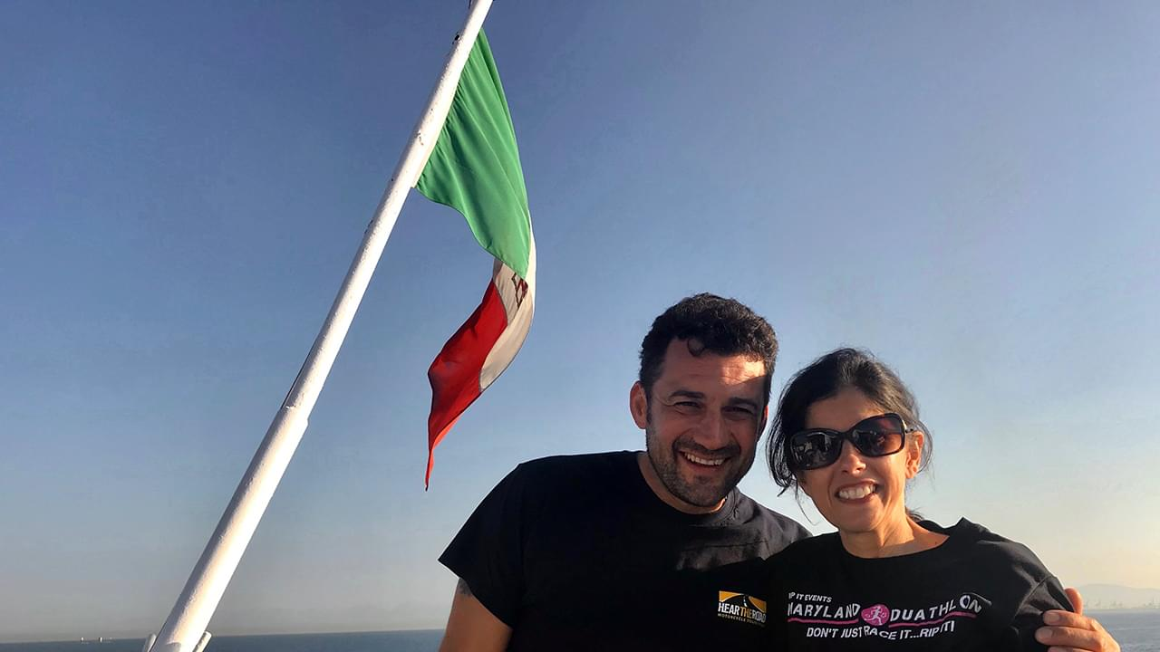 Italian flag and two happy riders